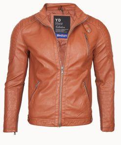 Мъжко кожено яке - 3199 Светлокафяво - Alf.bg