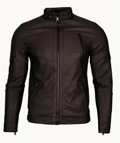 Мъжко кожено яке - 3199 Тъмнокафяво - Alf.bg