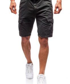 Къси мъжки панталони X45 Графит - Alf.bg
