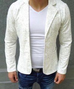 Мъжко елегантно памучно сако - бяло - Alf.bg