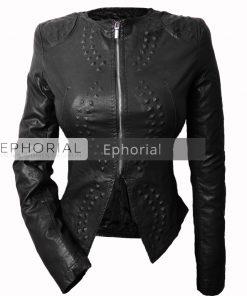Дамско кожено яке  - P1039 - Alf.bg