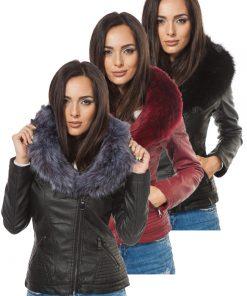 Дамско кожено яке  - P3017 - Alf.bg
