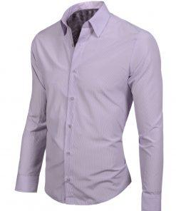Елегантна мъжка риза в светло лилав цвят - Alf.bg