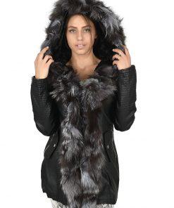 Зимно дълго кожено яке 4074 - яка от естествен косъм - Alf.bg