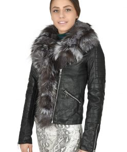 Зимно кожено яке 4072 - яка от естествен косъм - Alf.bg