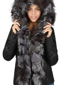 Зимно кожено яке 4073 - яка от естествен косъм - Alf.bg