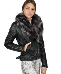 Зимно кожено яке 4077 - яка от естествен косъм - Alf.bg