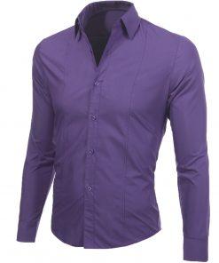 Изчистена мъжка светлолилава риза