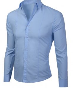"""Изчистена мъжка синя риза """"Лукс"""" - Alf.bg"""