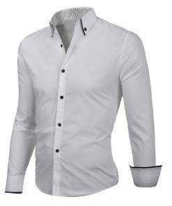 Мъжка бяла риза с черни копчета - Alf.bg