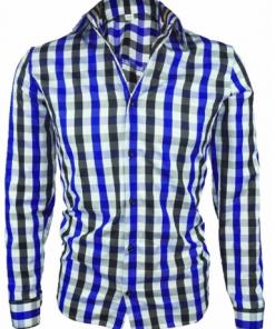Мъжка карирана риза Елегант / синьо-черно - Alf.bg