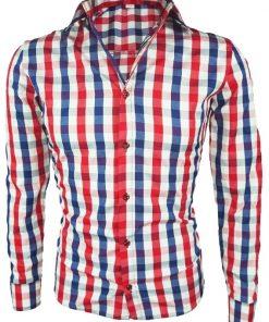 Мъжка карирана риза Елегант / червено - синьо - Alf.bg