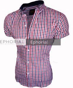 Мъжка карирана риза с къс ръкав - Alf.bg