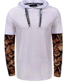 Мъжка тениска с дълъг ръкав X2203 Бял - Alf.bg