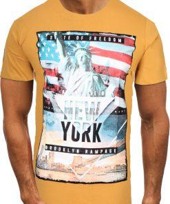 Мъжка тениска X2064 Жълт - Alf.bg