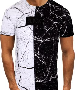 Мъжка тениска X2071 Черен-бял - Alf.bg