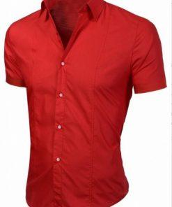 Мъжка червена риза с къс ръкав