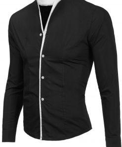 Мъжка черна риза без яка Даниел - Alf.bg