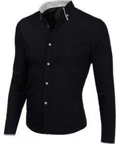 Мъжка черна риза с бели копчета - Alf.bg